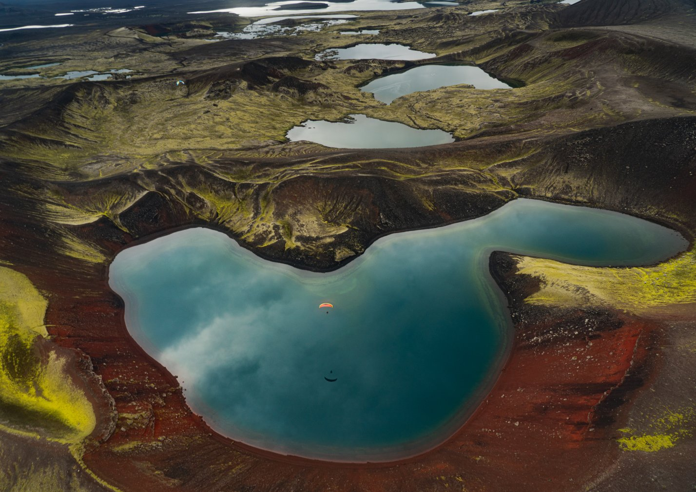 Iceland paramotor adventure flying over volcanic landscapes