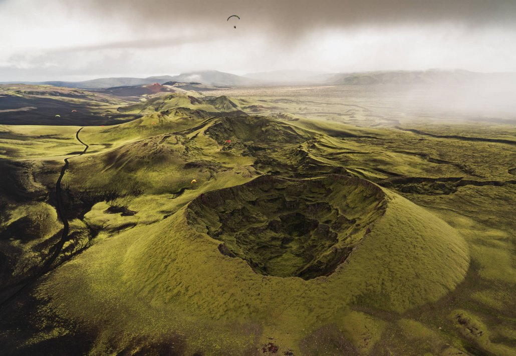 Iceland paramotor adventure discovering Laki craters