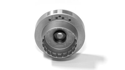 Flywheel (Selettra) with aluminum toothed pulley incorporated   (M034s)