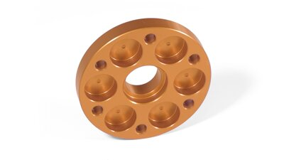 Aluminum spacer for propeller with extra cooling, orange   (M120)